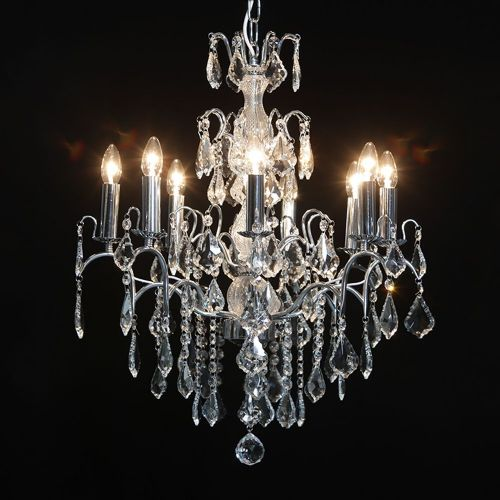 Antique French Cut Glass Chrome Chandelier 8 arms